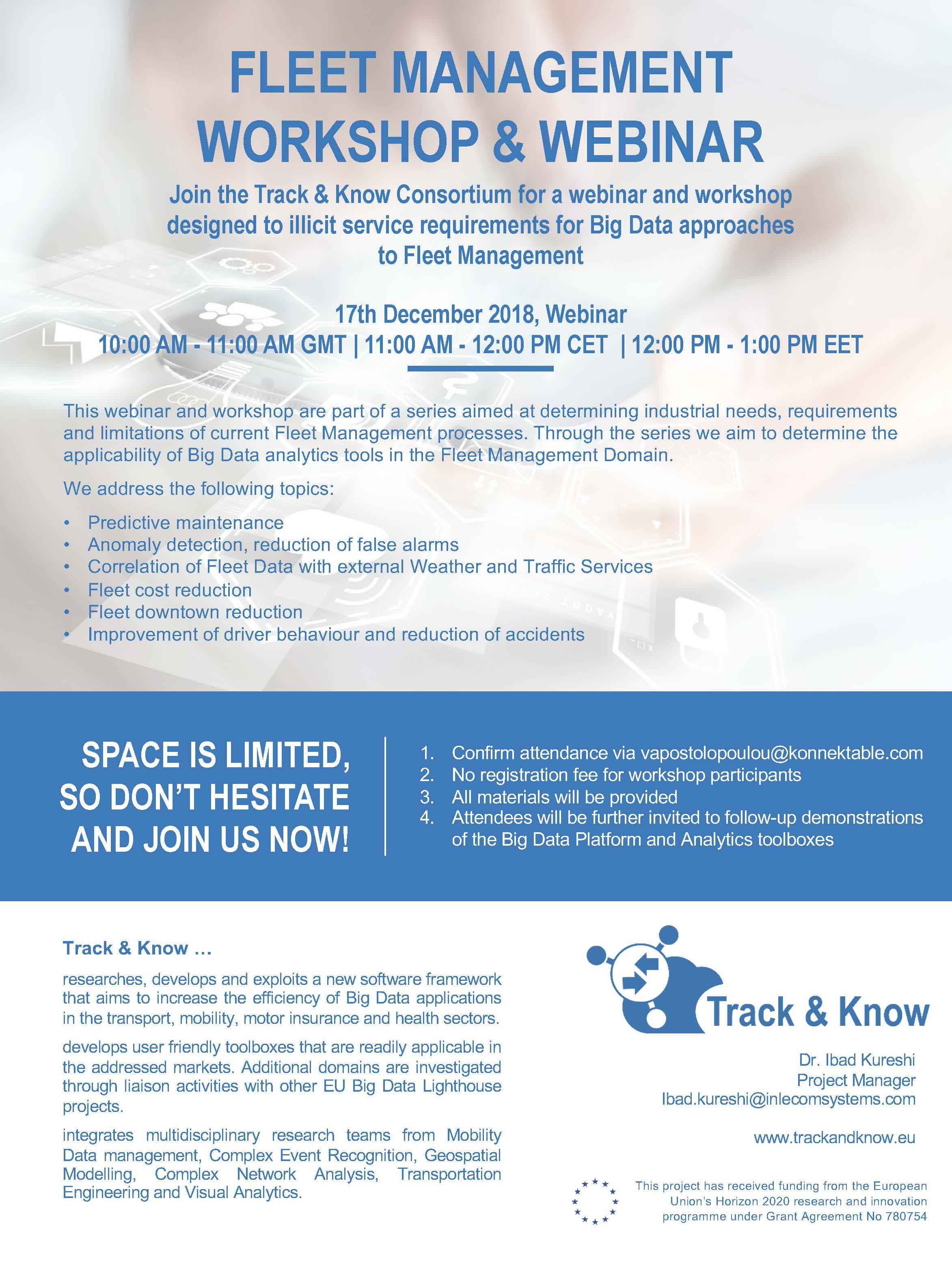 Track&Know Workshop and Webinars - Big Data in Fleet